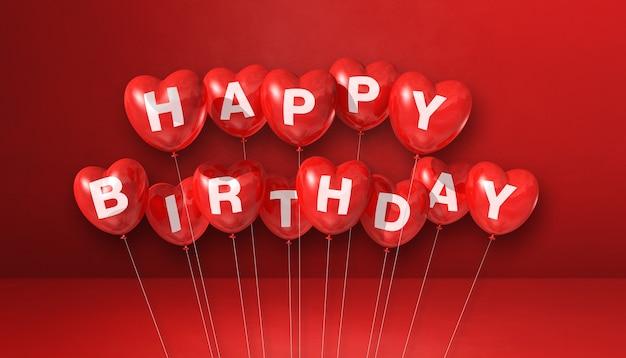 Texte de joyeux anniversaire sur des ballons en forme de coeur. rendu 3d