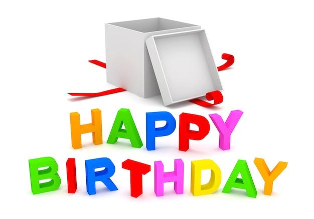 Texte de joyeux anniversaire avec boîte-cadeau isolé sur blanc