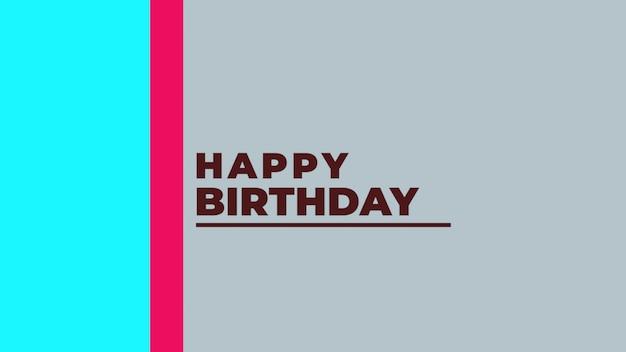 Texte joyeux anniversaire sur fond bleu mode et minimalisme. style d'illustration 3d élégant et luxueux pour les vacances et le modèle d'entreprise