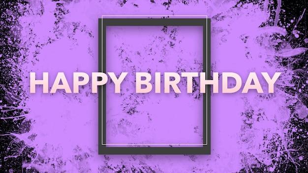 Texte joyeux anniversaire sur fond de mode et de minimalisme avec cadre géométrique. style d'illustration 3d élégant et luxueux pour les vacances et le modèle d'entreprise