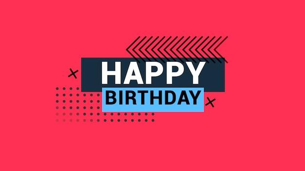 Texte joyeux anniversaire sur fond de mode et de minimalisme avec des formes géométriques. style d'illustration 3d élégant et luxueux pour les vacances et le modèle d'entreprise