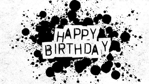 Texte joyeux anniversaire sur fond noir et blanc de mode et de brosse. style d'illustration 3d élégant et luxueux pour le modèle d'entreprise et d'entreprise