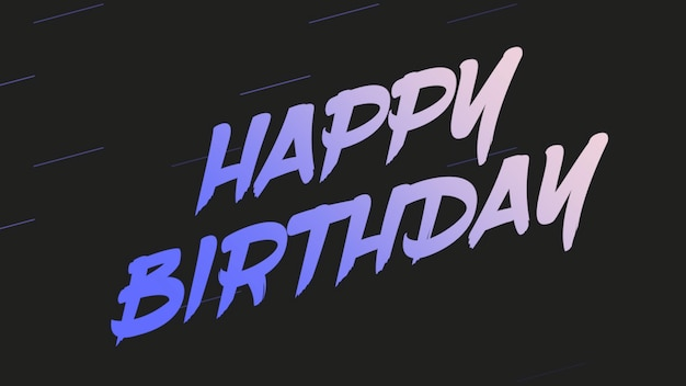 Texte joyeux anniversaire sur fond noir et dégradé. style d'illustration 3d élégant et luxueux pour les vacances et le modèle d'entreprise