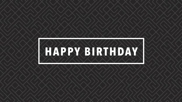 Texte joyeux anniversaire sur fond noir de mode et de minimalisme. style d'illustration 3d élégant et luxueux pour les vacances et le modèle d'entreprise