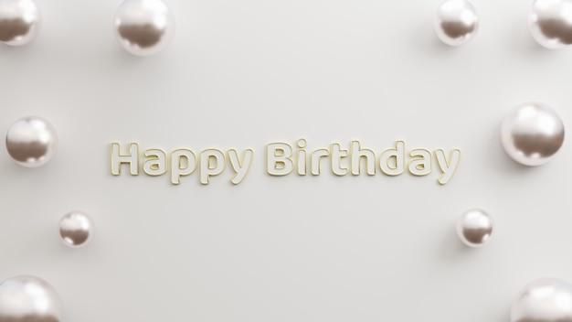 Texte joyeux anniversaire or moderne avec fond blanc style minimaliste rendu d'illustration 3d