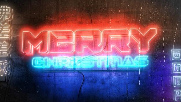 Texte joyeux noël et fond cyberpunk avec des néons en ville. illustration 3d moderne et futuriste pour le thème cyberpunk et cinématographique