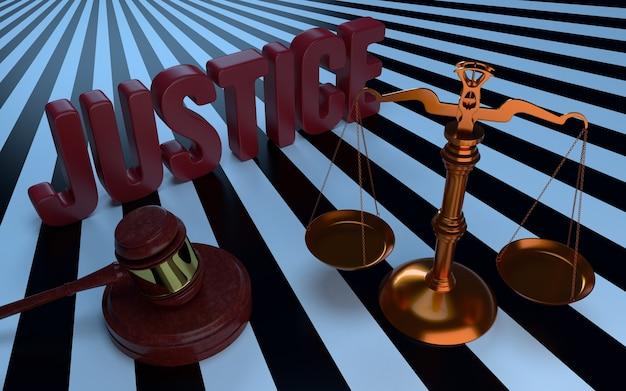 Texte de justice, balance et marteau des juges. illustration 3d