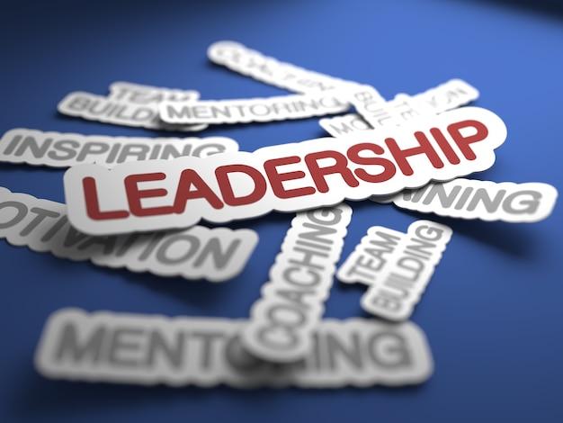 Texte de leadership avec mise au point sélective. rendu 3d.
