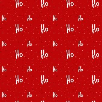 Texte de noël 'hohoho' et neige sur fond rouge.