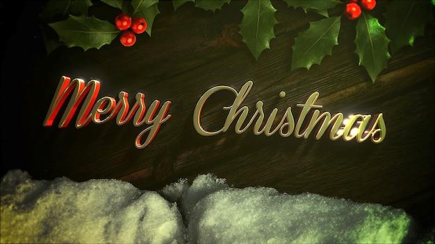 Texte de noël joyeux, neige blanche et branche de noël verte sur fond de bois. illustration 3d de style dynamique de luxe et élégante pour les vacances d'hiver