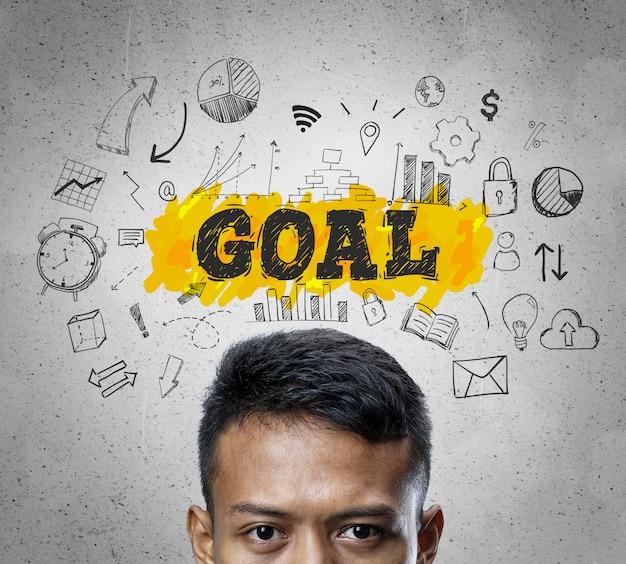 Texte de l'objectif. chef d'homme d'affaires asiatique pensant business sketch concept background.