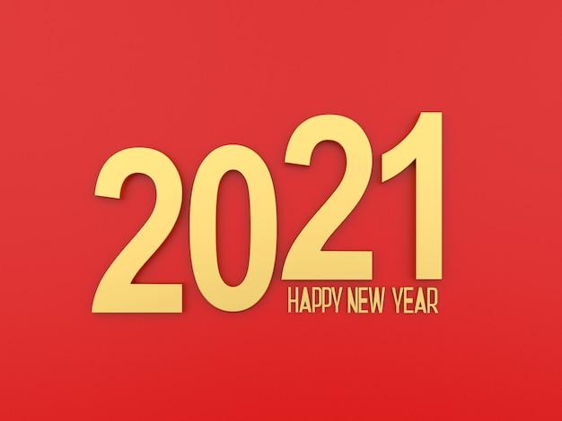 Texte d'or 2021 nouvel an sur fond rouge
