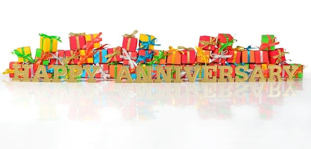 Texte d'or de joyeux anniversaire sur le fond des cadeaux multicolores