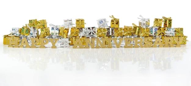 Texte d'or de joyeux anniversaire sur le fond des cadeaux d'or et d'argent