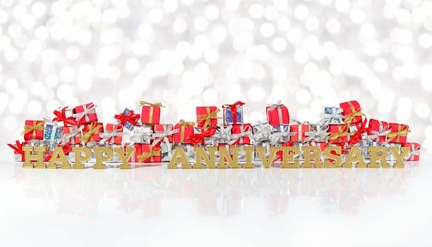 Texte d'or de joyeux anniversaire sur le fond des cadeaux rouges et argentés sur un fond de bokeh