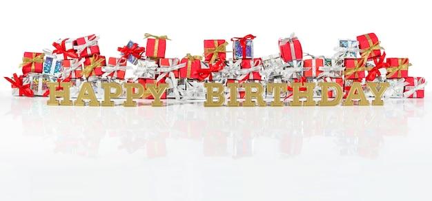 Texte d'or de joyeux anniversaire sur le fond des cadeaux rouges et argentés