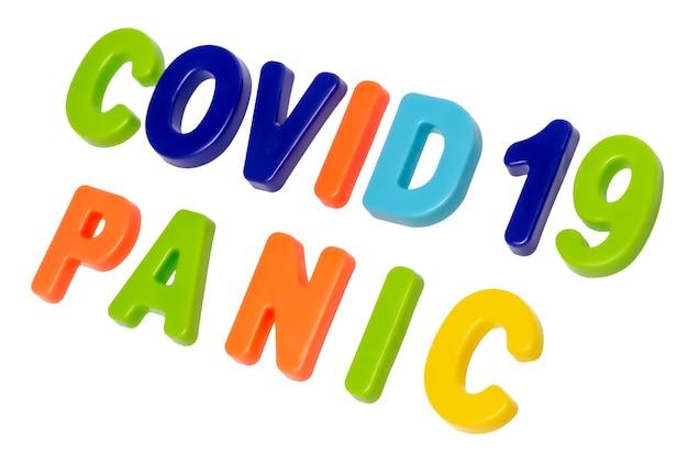 Texte de pandémie de coronavirus covid19 panique sur fond blanc panique d'une pandémie mondiale