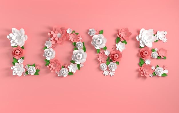 Texte de rendu 3d love fait de fleurs en papier et de feuilles sur fond rose