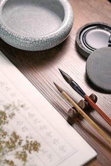 Texte de scène de calligraphie chinoise: ancienne prose chinoise