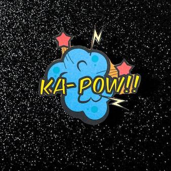 Texte de vecteur d'expression comique ka pow sur fond sombre scintillant