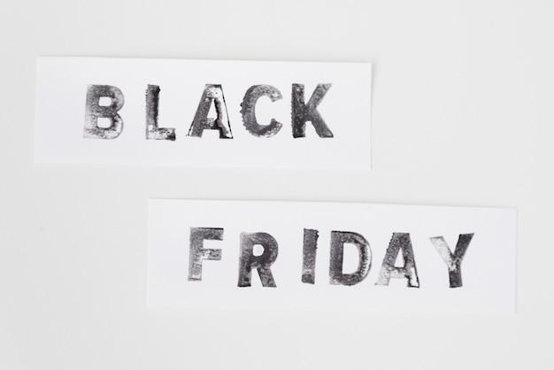 Texte de vendredi noir sur fond blanc