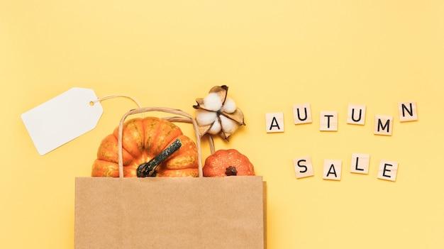 Texte de vente d'automne à partir de lettres en bois et avec un sac à provisions en papier avec des citrouilles