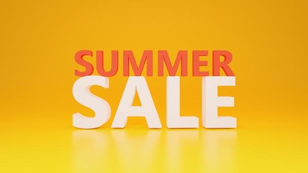 Texte de vente d'été avec fond jaune dans la conception 3d