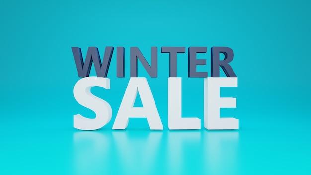 Texte de vente d'hiver avec fond jaune en conception 3d