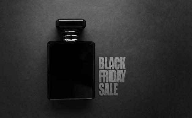 Texte de vente vendredi noir et bouteille de parfum, sur fond de texture noire.