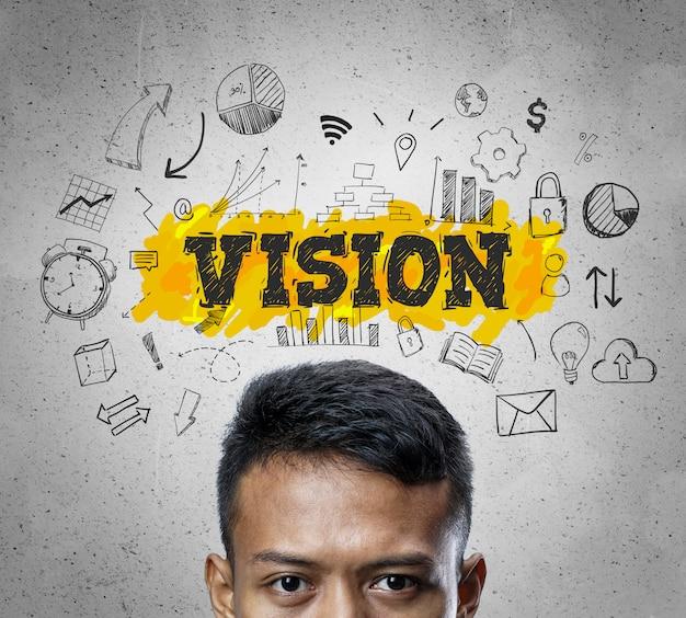 Texte de vision. chef d'homme d'affaires asiatique pensant business sketch concept background.