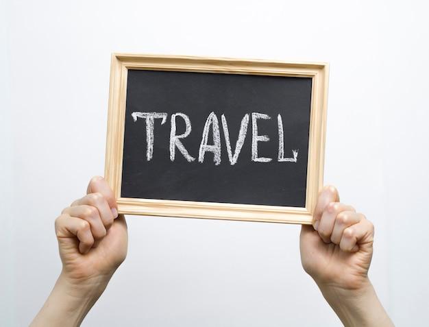 Texte de voyage concept sur la photo dans le cadre.
