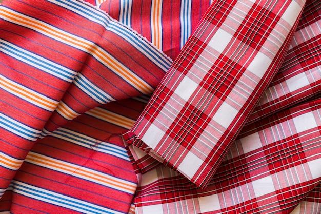 Textile de coton rouge plein cadre