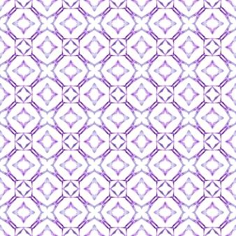 Textile prêt belle impression, tissu de maillot de bain, papier peint, emballage. magnifique design d'été boho chic violet. motif de bordure ethnique d'été aquarelle. motif ethnique peint à la main.