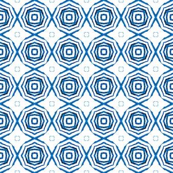 Textile prêt à l'emploi superbe imprimé, tissu de maillot de bain, papier peint, emballage. design d'été boho chic parfait bleu. motif aquarelle chevron. bordure aquarelle chevron géométrique vert.