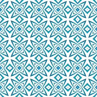 Textile prêt à l'emploi, tissu de maillot de bain, papier peint, emballage. design d'été boho chic original bleu. bordure aquarelle chevron géométrique vert. motif aquarelle chevron.