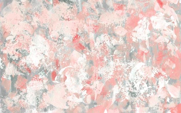 Texture abstraite rose, blanche et grise. fond rugueux de gouache dessiné à la main. peinture de coups de pinceau.