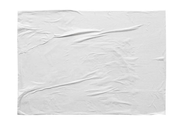 Texture d'affiche de papier autocollant froissé et froissé blanc blanc isolé sur fond blanc