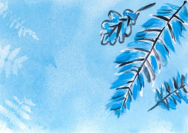 Texture aquarelle abstraite avec des éléments à base de plantes. fond de coup de pinceau coloré. superposition peinte à la main.