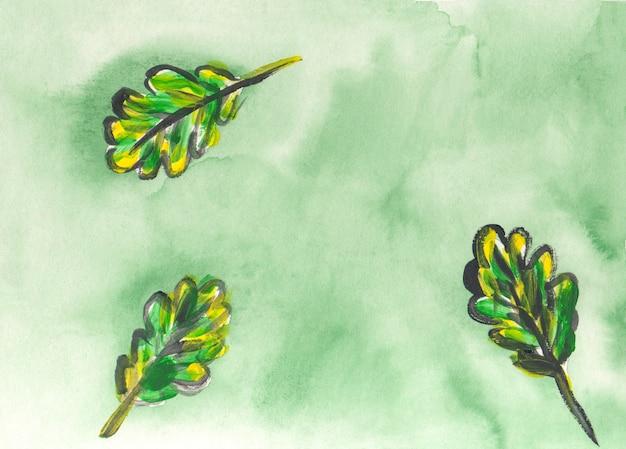 Texture aquarelle abstraite avec des feuilles d'automne. fond de coup de pinceau coloré. superposition peinte à la main.