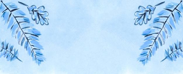 Texture aquarelle bleue symétrique abstraite avec des éléments à base de plantes. fond de coup de pinceau coloré. superposition peinte à la main.
