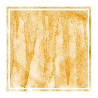 Texture d'arrière-plan aquarelle cadre carré dessiné main orange clair avec des taches