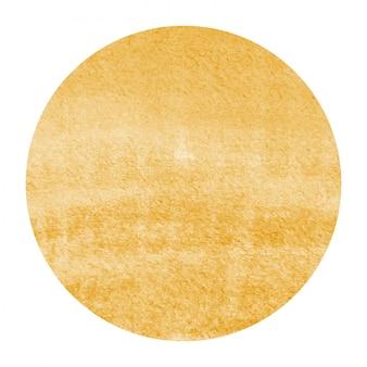 Texture d'arrière-plan de cadre circulaire aquarelle dessiné à la main orange clair avec des taches