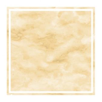 Texture d'arrière-plan de cadre rectangulaire aquarelle dessiné main orange clair avec des taches