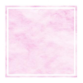 Texture d'arrière-plan de cadre rectangulaire aquarelle dessiné main rose avec des taches