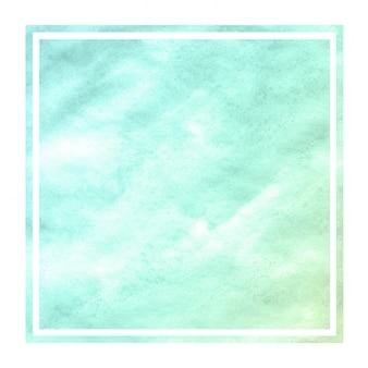 Texture d'arrière-plan de cadre rectangulaire aquarelle dessiné main turquoise avec des taches