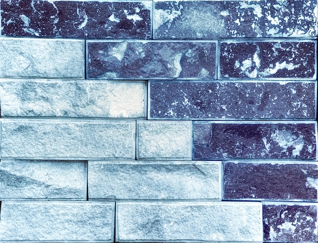 Texture bleue du mur de pierre. blocs de travertin de haute qualité.