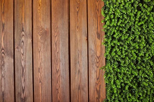 Texture bois avec fond de feuilles