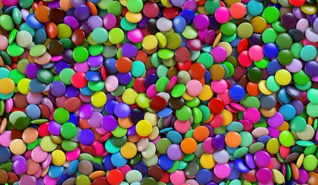 Texture de bonbons ronds multicolores. bonbons colorés. illustration de rendu 3d