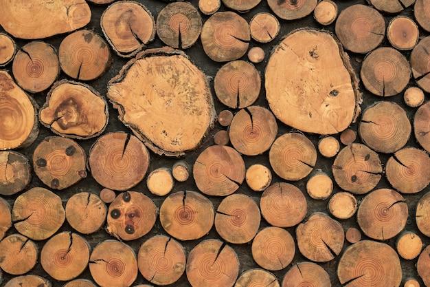 Texture de bûches brunes, arrière-plans en bois, parquet en bois naturel clair, surface vintage rustique, papier peint à grains, motif de cercles, conception de planche abstraite, vieille table en chêne.