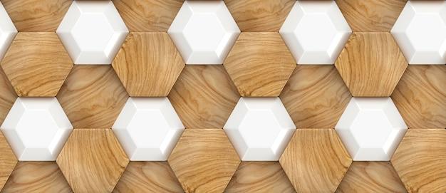 Texture de carreaux 3d de chêne en bois avec éléments en plastique blanc et chêne en bois matériel
